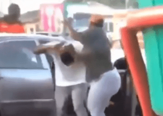 Woman causes a scene after busting husband with a side-chick VIDEO