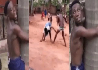 Drama As Man Is Publicly Whipped For Mercilessly Beating His Mother To A Pulp (Video).