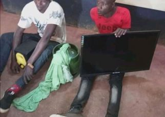 Drama As Stolen Tv Remains Stuck On Thief's Head