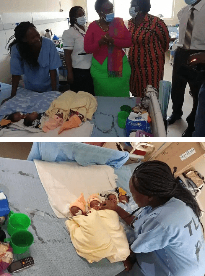 A 25-year-old woman from Thika has a reason to express gratitude to God after she gave birth to quadruplets.