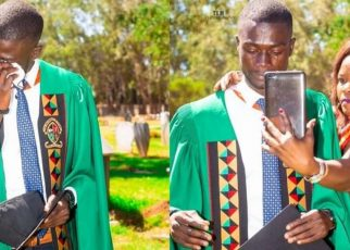 """Thank you dad""""- Man Celebrates His University Graduation At His Father's Grave."""