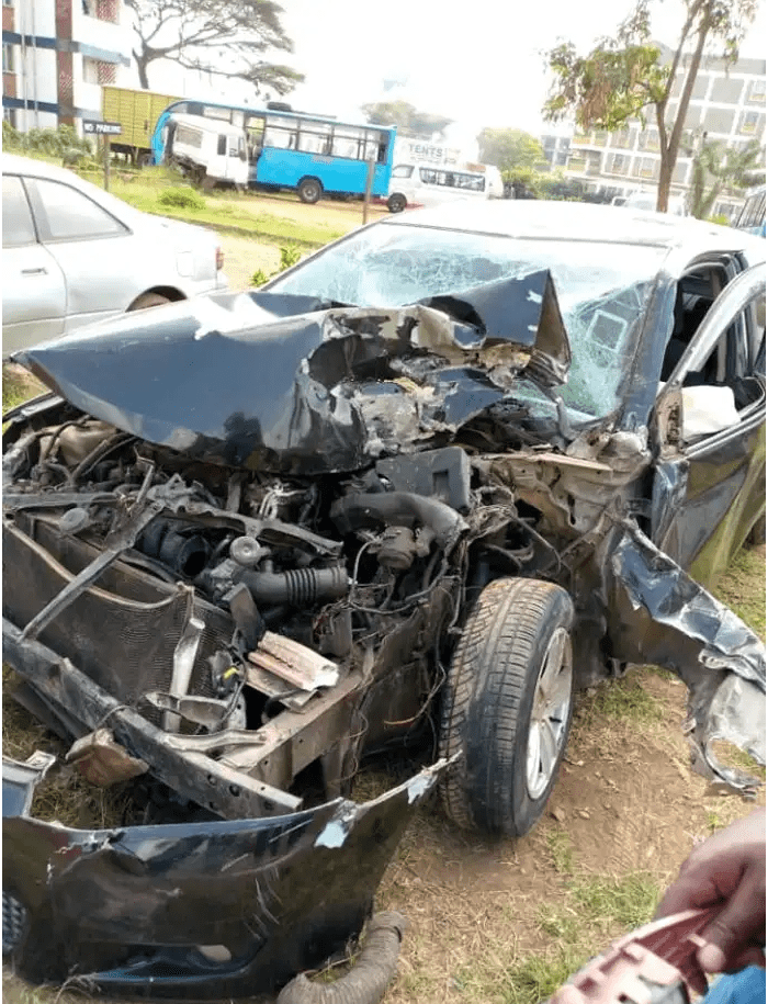 (PHOTO) Mugithi Star Gathee Wa Njeri, after Cheating Death experience 'I confess God's miracle'  after surviving a deadly accident along Thika Road