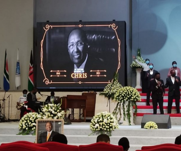 Funeral service of Billionaire Dr. Chris Kirubi underway at Faith Evangelistic Ministry (FEM) church in Karen, Nairobi.