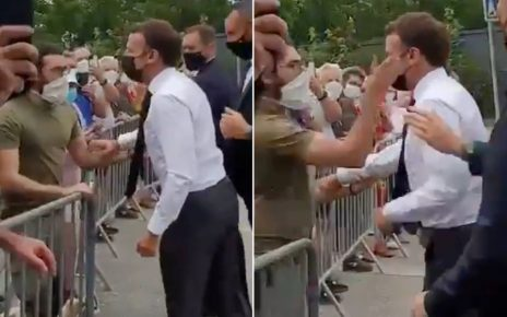 Moment, French President EMMANUEL MACRON was slapped (VIDEO)– Don't try this on UHURU