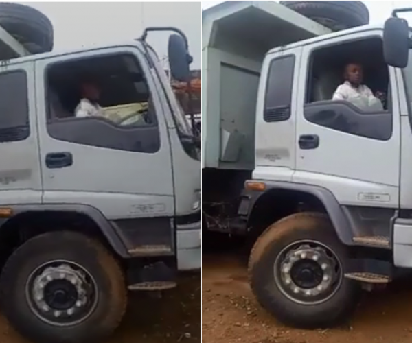 (VIDEO) 7-year-old boy driving a lorry like a pro emerges Kenyans never learn.