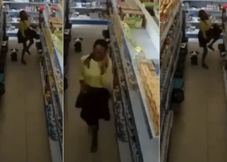 Woman caught on CCTV shoplifting and hiding item between her thighs (VIDEO)-Shame!