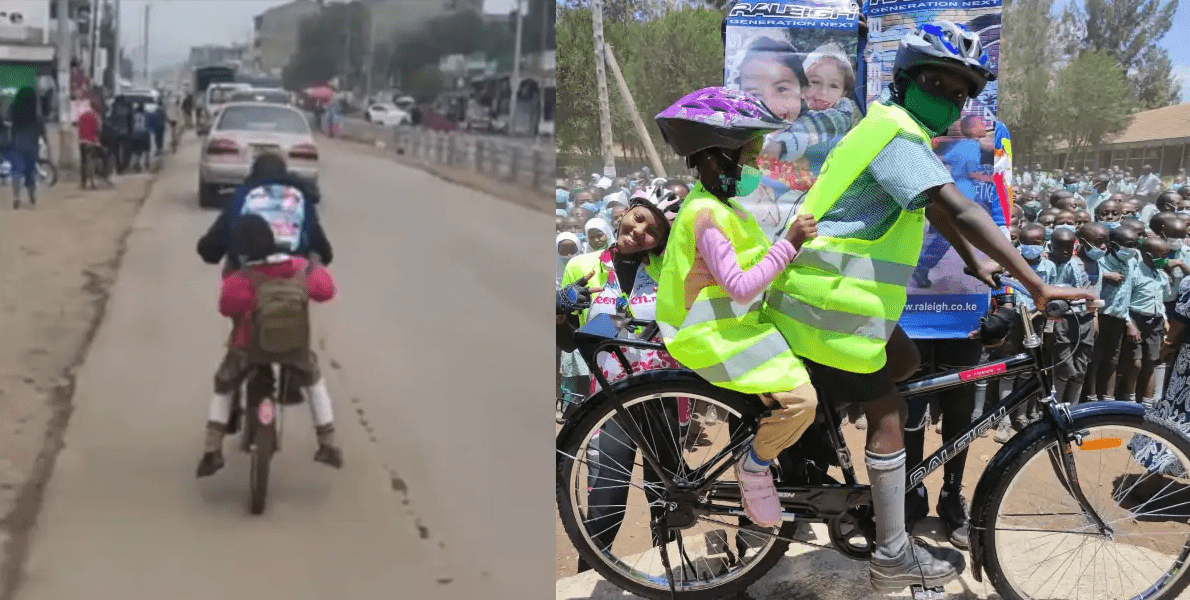Nakuru: Boy who went viral for taking sister to school on bicycle 3KM daily receives help from Kenyans