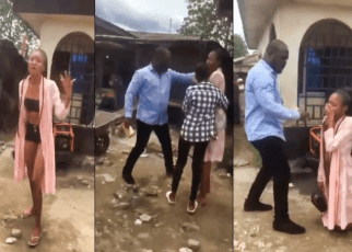 Viral VIDEO-Pastor confronts lady for wearing half-naked and forced her to receive Jesus