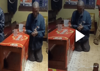 Interesting video of drunkards praying for Chang'aa and keg in a dingy bar lights up the internet – Never a dull day in Kenya (WATCH).