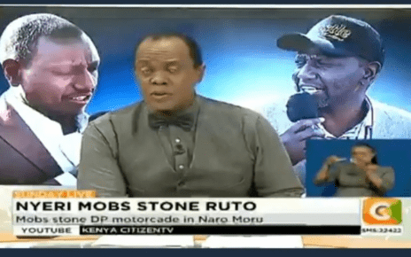 RUTO and his supporters to boycott Citizen TV, owned by RAILA's friend, SK MACHARIA, after reporting mobs stoned the DP in Nyeri yesterday