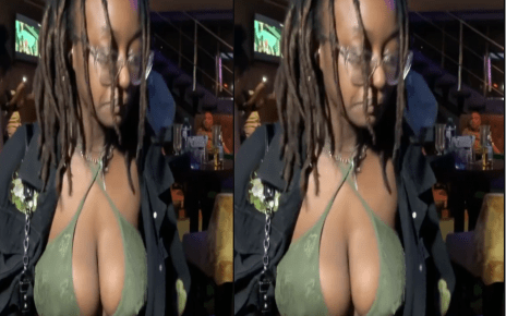 video of a braless slay queen in the same club where a pantless slay queen was spotted (WATCH).