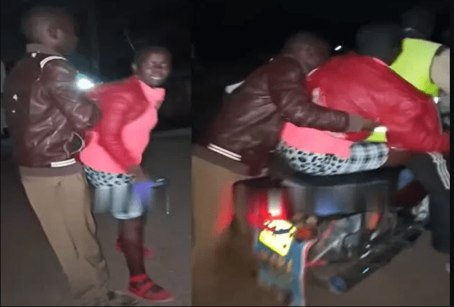 Drama as a man lifts a lady and puts her on a motorbike after buying her drinks and refused to spend the night with him as agreed