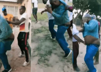 Man given a dog's beating after he was caught pants down with his boss' wife (VIDEO)