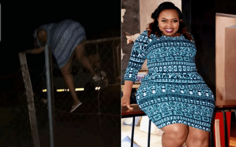Truth about photo of Senator MILLICENT OMANGA jumping over Kasarani Police Station's GATE at night.