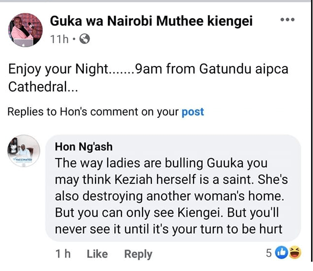 Kameme FM's MZEE KIENGEI shares a post from a fan calling his ex-wife a homewrecker – This man should just move on.