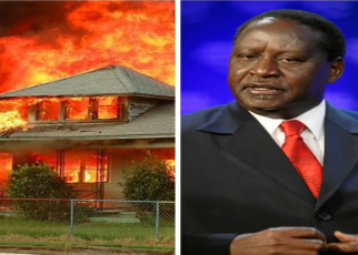 'Drama as Raila Rift valley ally House is Burnt Hours After a Bitter Exchange at Tirop' s Send-off
