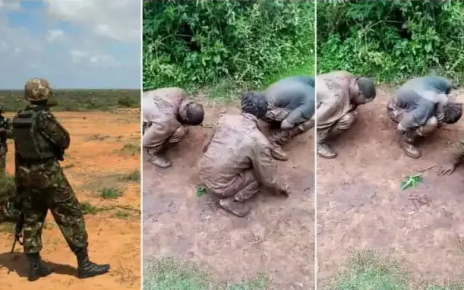 Young Kenyan men caught smoking bhang in a military camp frogmarched in mud and punished – Ogopa Jeshi (VIDEO).